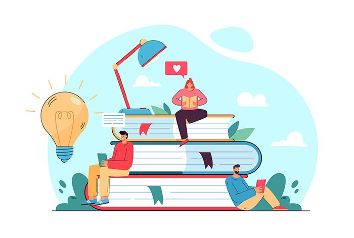 Tiny student sitting on book pile and reading flat vector illustration. Cartoon bookworm people studying and getting new knowledge. Library, literature and education concept