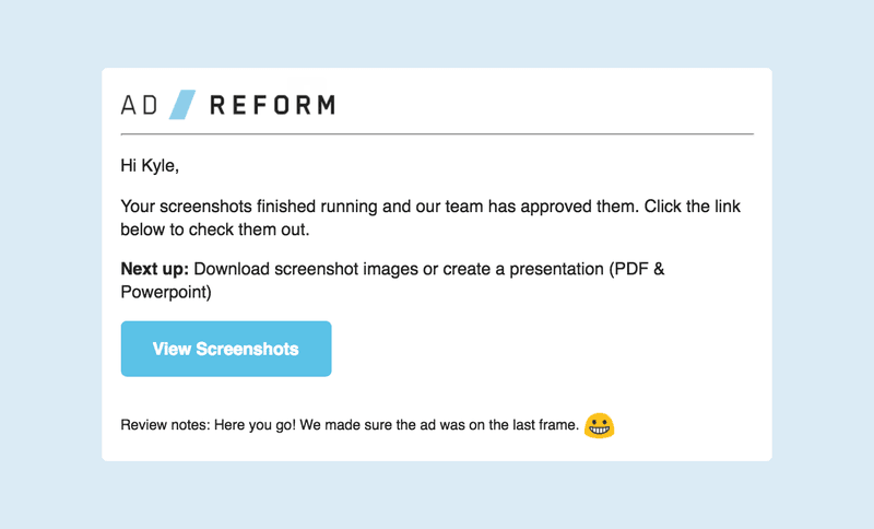 Ad Reform automates programmatic ad screenshots and sends notifications