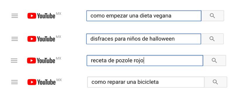 Palabras clave en el buscador de Youtube