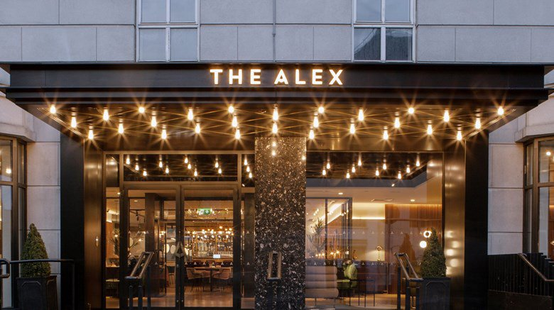 Image of the entrance to the Alex Hotel, Merrion Square Dublin