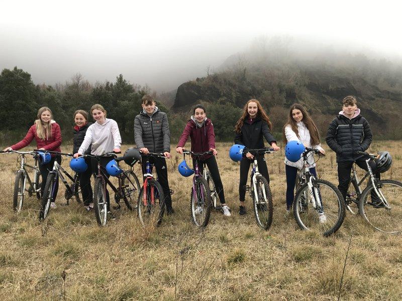 Cycling to Volca Croscat in Spain during our Erasmus+ KA229 School Partnership visit
