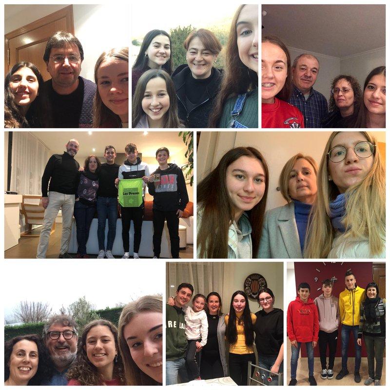 Students with their host families on their Erasmus+ KA229 School Partnership