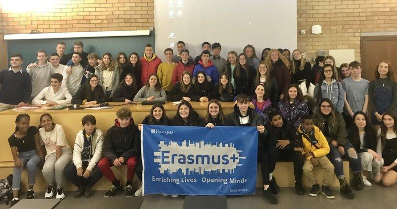 Irish and Spanish students together during their Erasmus+ KA229 School Partnership