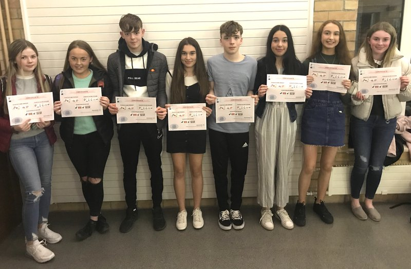 Erasmus+ KA229 School Partnership students with their certificates