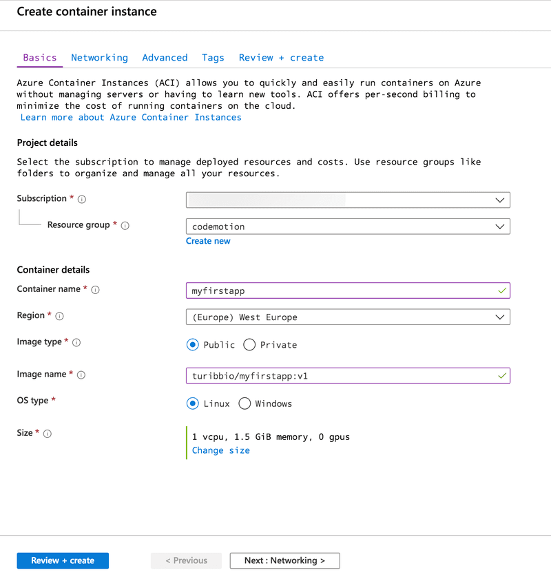 Creating an Azure Container Instance