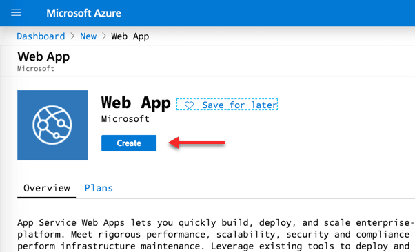 The Web App wizard in Microsoft Azure