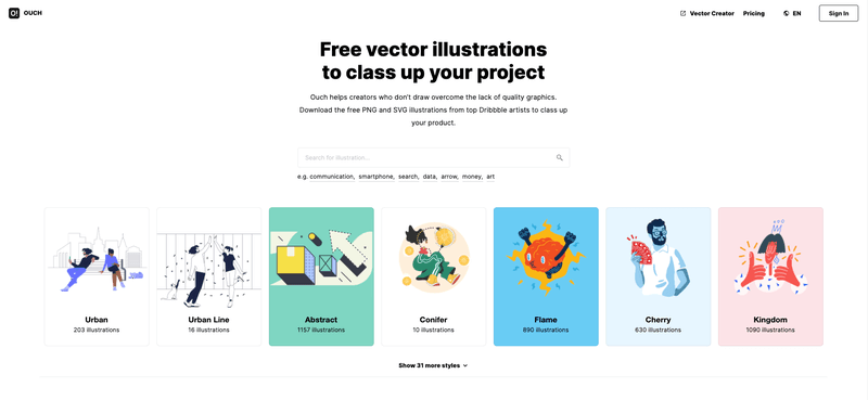 Landing page illustrations