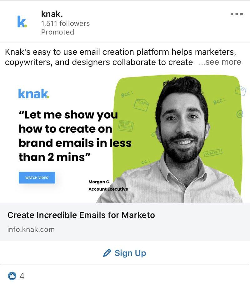 LinkedIn Ad Examples: Knak