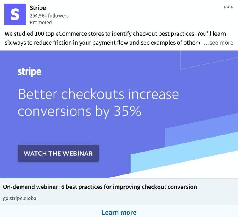 B2B LinkedIn Ad Examples: Stripe