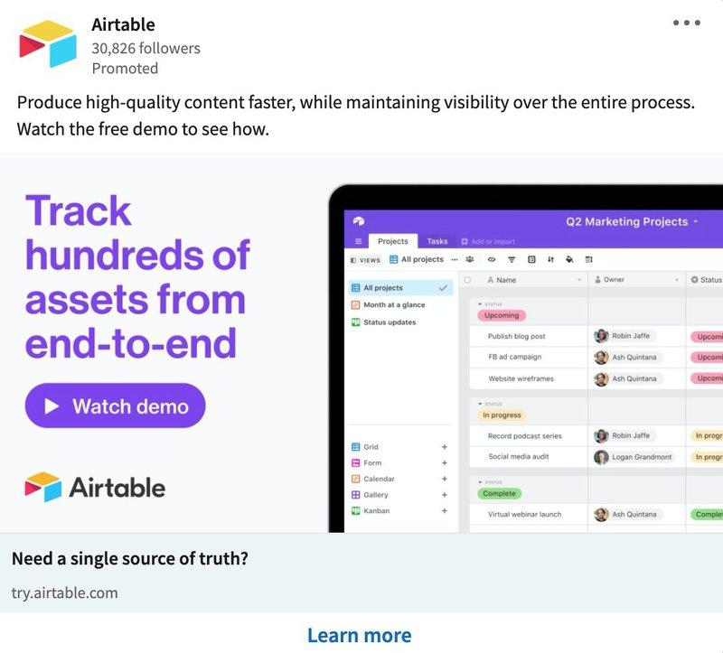 B2B LinkedIn Ad Examples: Airtable