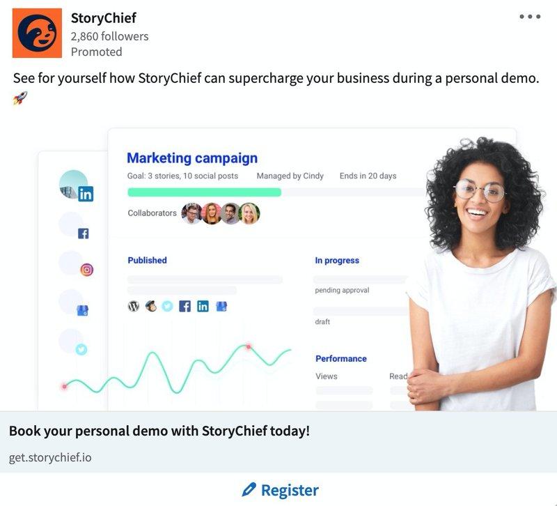 B2B LinkedIn Ad Examples: StoryChief