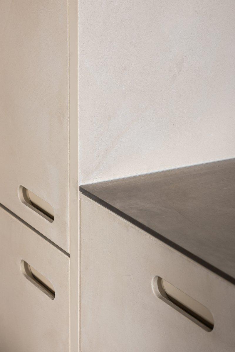 Firmax texture met holle greep en inox werkblad