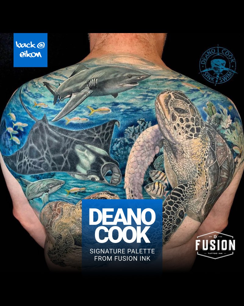 Deano Cook Signature Palette from Fusion Ink. Image of a full back tattoo depcting an ocean scene with turtles, fish and sharks.
