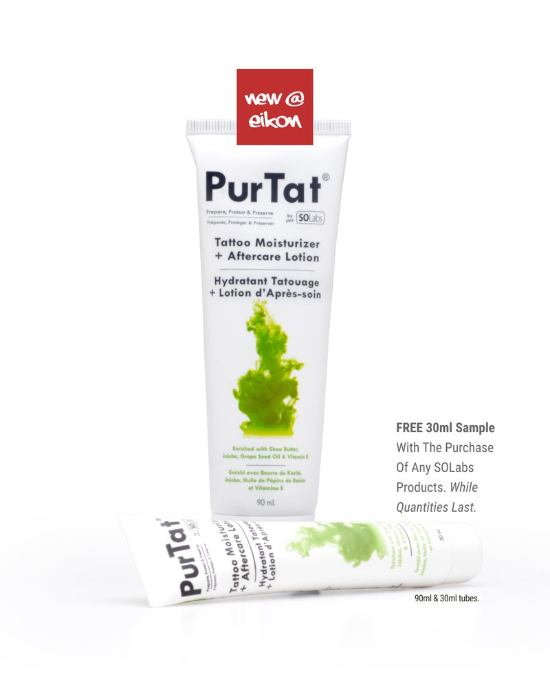 PurTat Moisturizer and aftercare lotion bottles. Free 30ml sample with the purchase of any SOlabs products. While quantities last