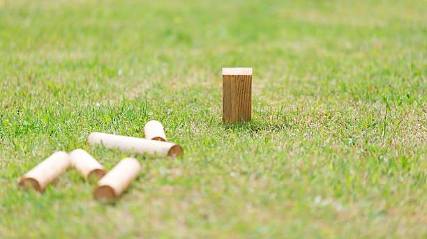 Swedish Lawn Game Kubb on grass close up.