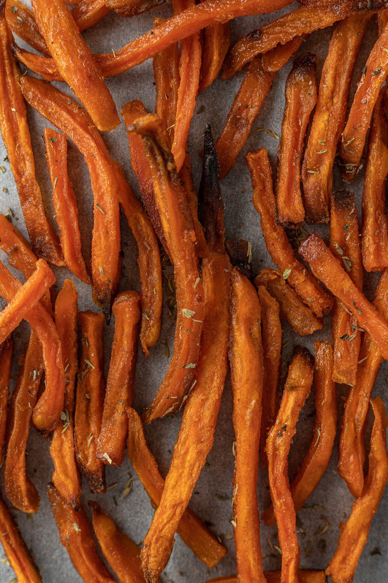 Baked healthy sweet potato fries.