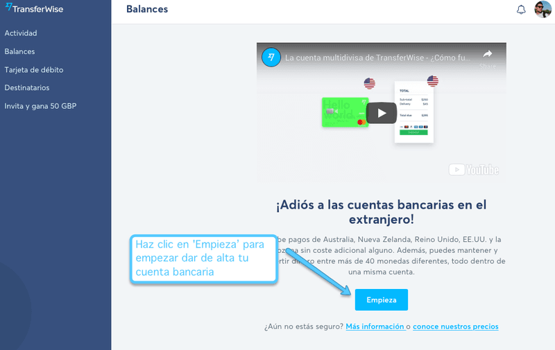 Abrir la cuenta bancaria con TransferWise