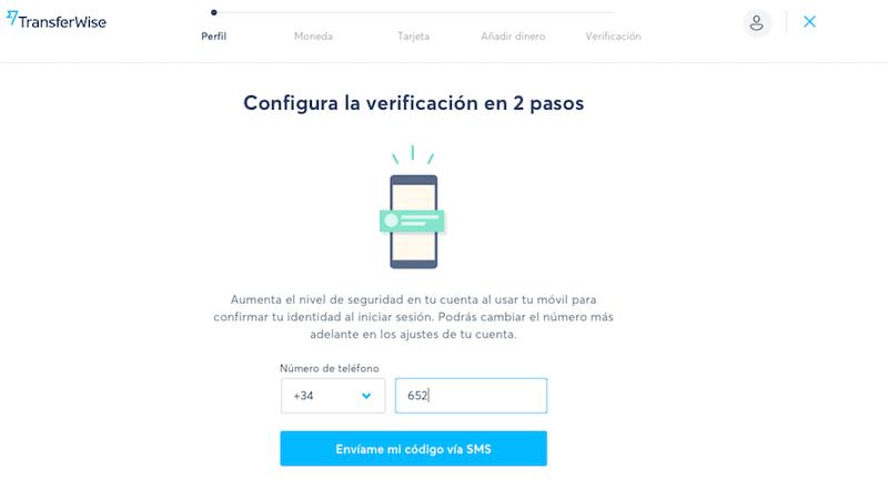 Añade tu número de teléfono para abrir la cuenta TransferWise