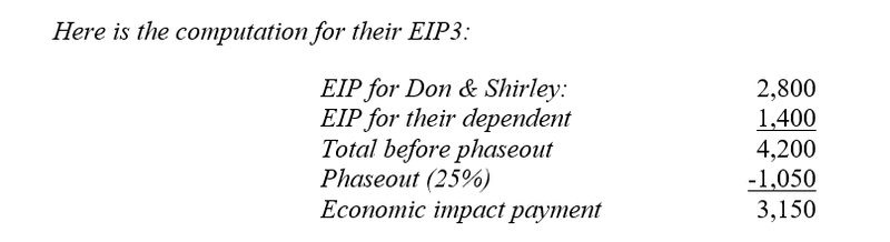 Computations for the third round of economic impact payments