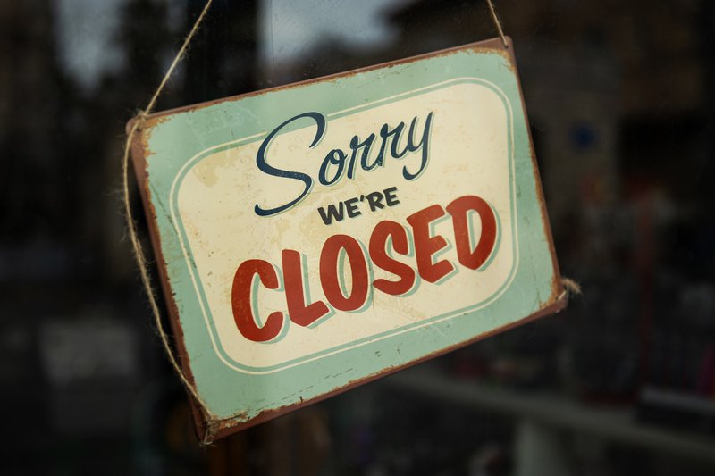 Sorry we're closed sign, CARES Act, coronavirus stimulus package