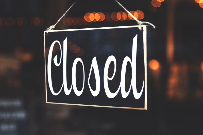 We're Closed sign; going concern worries and COVID-19 business closures