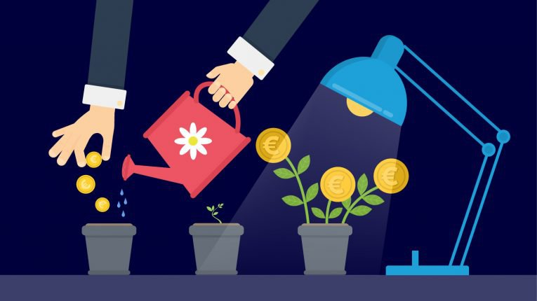 Image showing a man watering plants. Personal finance involves investing which is like planting seeds.