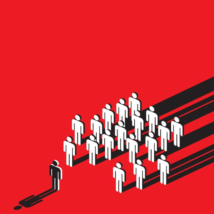 symbolic of social pressure with stick human on red background. One human figure facing several others.