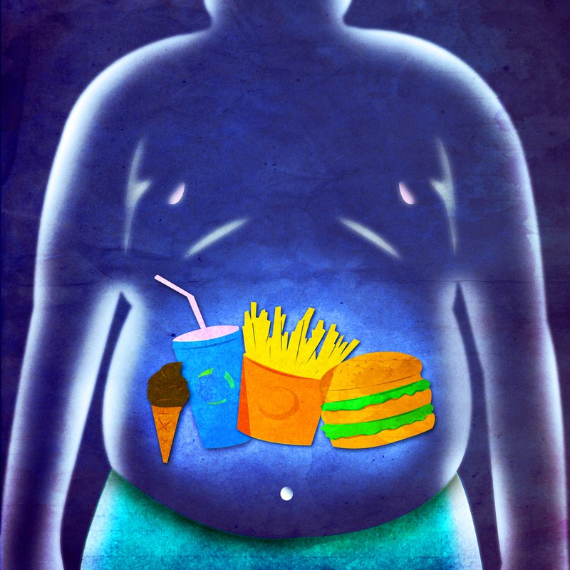 Illustration of Obese Man and Fast Food Menu on Blue Textured Background