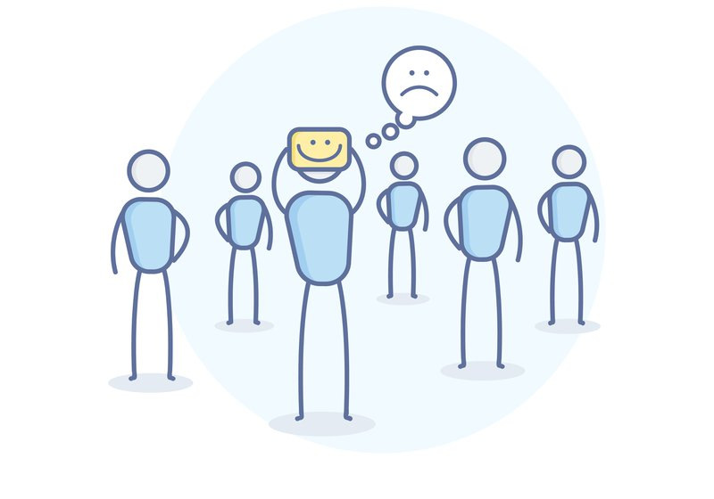 Image of a group of human stick figures. One of them is holding a happy smiley but has a thought bubble with a sad smiley. It indicates how human beings mask emotions and don't show how they're really feeling to the world.