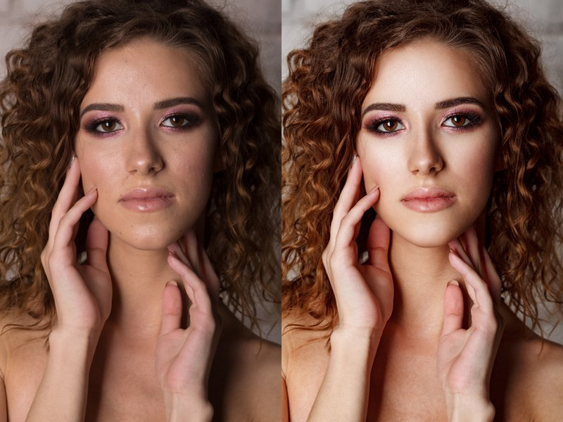 Before-after processing. Woman before and after retouch. comparison portraits with make-up
