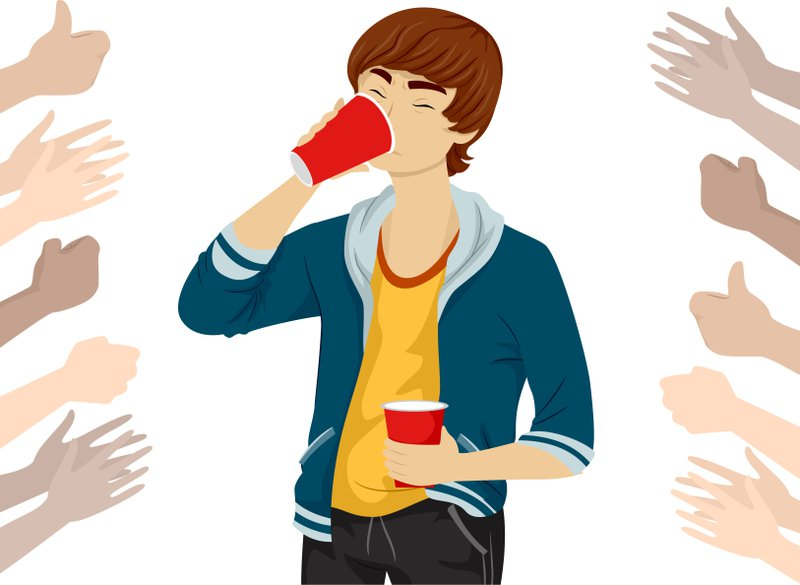 Illustration of a Teenage Guy Drinking Beer with Hands Cheering and Clapping Around Him.