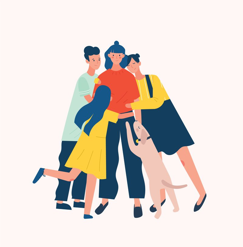 Group of people and dog surrounding and hugging or embracing young woman. Friends' support, care, love and acceptance and true friendship
