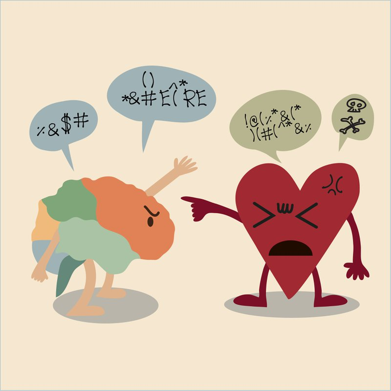 cartoon of Conflict between Brain and Heart