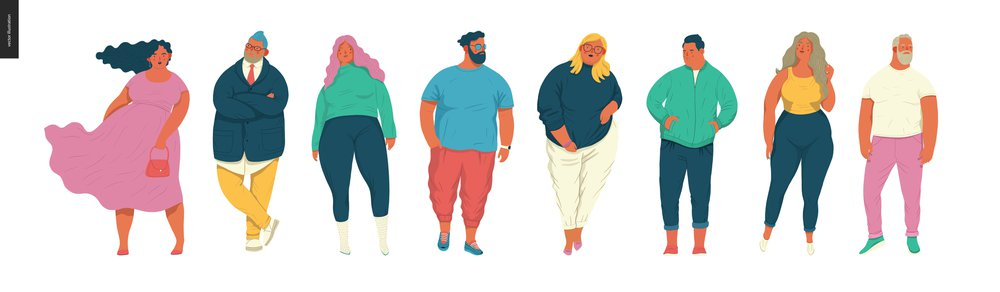 Body positive portraits set - hand drawn flat style vector design concept illustration of men and women, male and female figuers