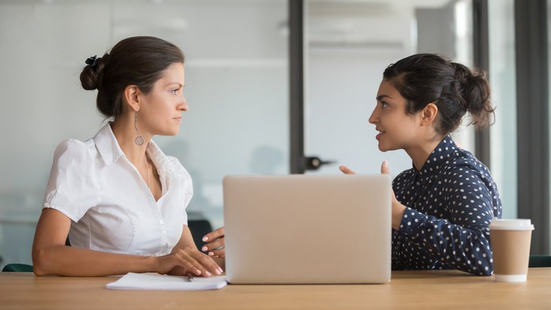 HR manager listening to intern's experience and request during internship