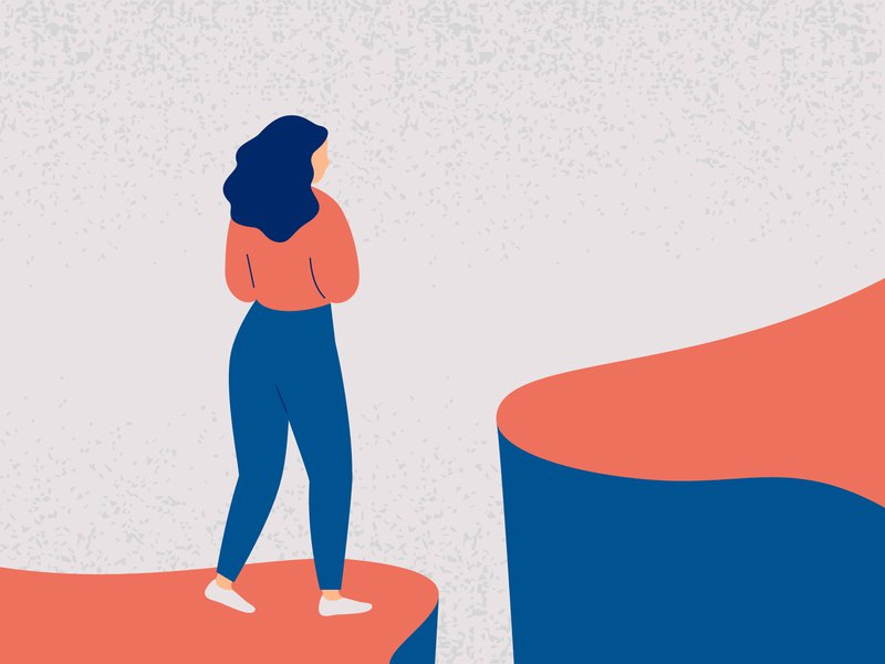 Young woman decides to take a difficult step into the future. Girl in fear and indecision is worth on the edge of a cliff and looks forward. Concept of a difficult choice and uncertainty in a VUCA world and how it impacts mental health