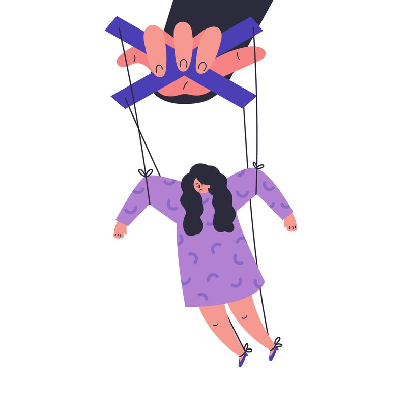Image of a woman being controlled as a puppet by a hand holding the strings. It indicates how society tries to control women by controlling their sexuality by placing such importance on virginity.