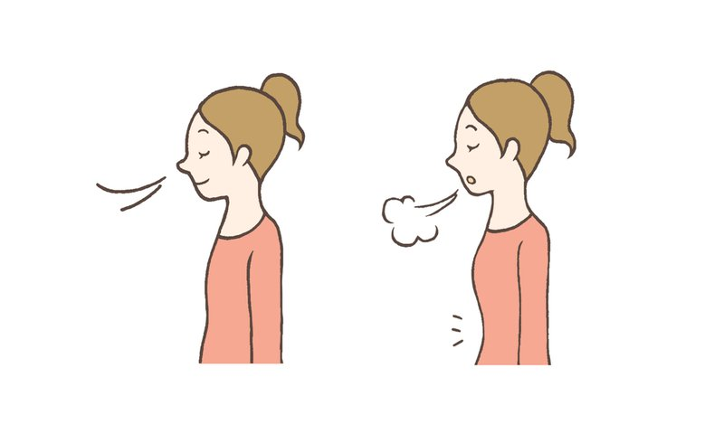 Illustration showing a woman inhaling through her nose and exhaling from her mouth