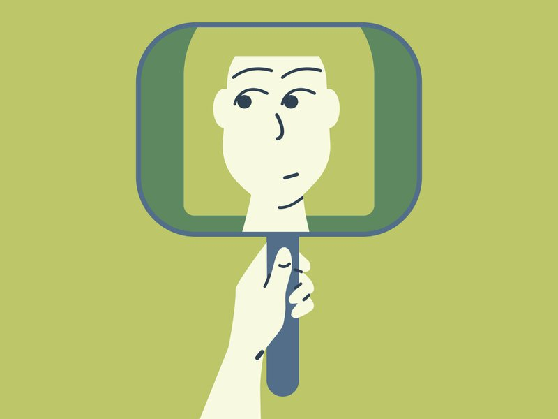 Illustration of a person looking at themselves in a mirror. Indicating concept of self-awareness and self acceptance