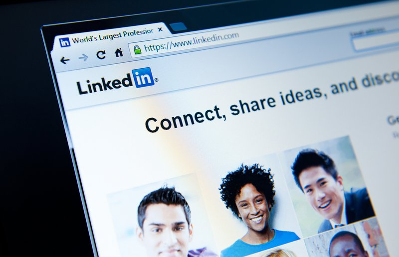 Image of the LikedIn login page to indicate how professional networking sits are used to research jobs and companies.