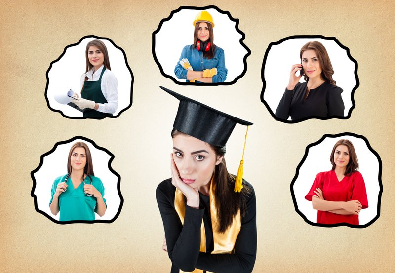 A girl who wearing a graduation hat choosing from different career options