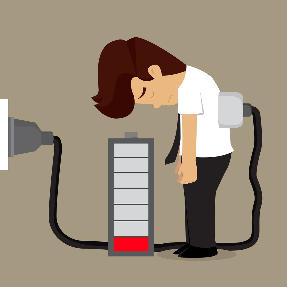 Illustration of man depleted of energy and attached to a charger.
