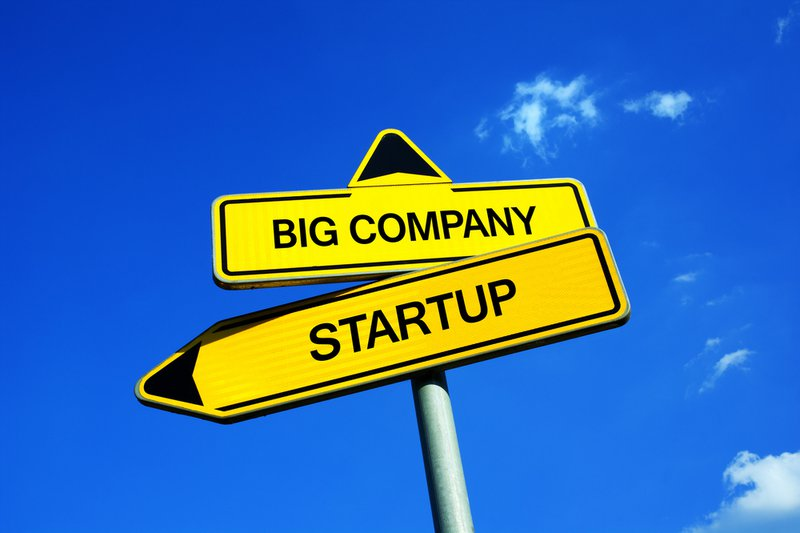 Big Company or Startup - Traffic sign with two options - working for established corporation vs be employed in new and innovate small business. Stability and career vs interesting workplace during internship