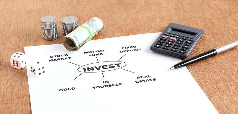 Investment options, including equity, mutual fund, fixed deposit, gold and real estate, concept.