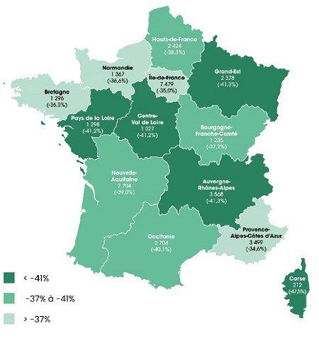défaillance des entreprises - carte des régions les plus touchées