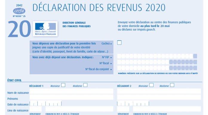 déclaration des revenus 2020 - formulaire 2042