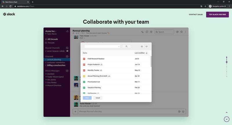 Slack - partager des fichiers