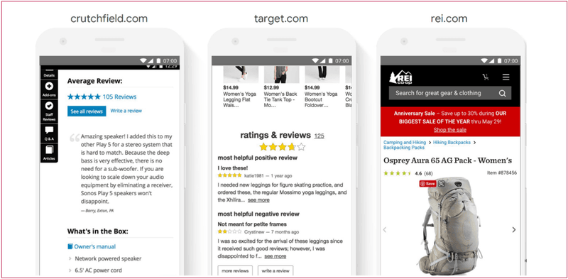eCommerce ratings and reviews example