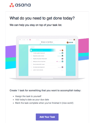 Asana, B2B email marketing example