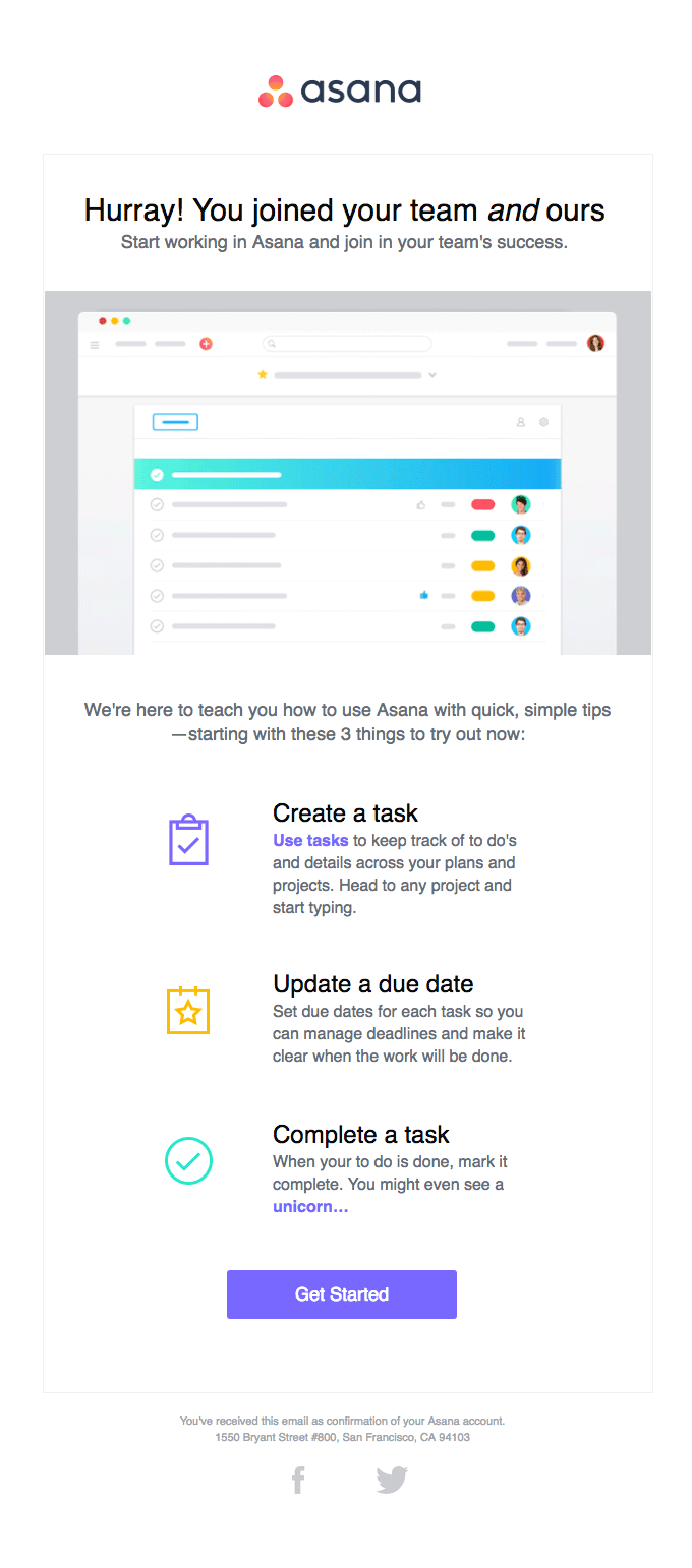 Asana B2B Email Marketing Example
